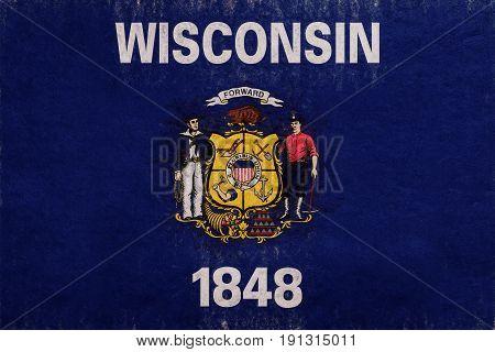 Flag Of Wisconsin Grunge