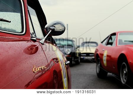 RADOLFZELL AM BODENSEE, GERMANY -  SEP 28: Close-up of a vintage sportscar at a car rally September 28, 2012, Lake Constance region.