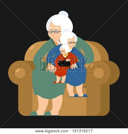 Grandmother Recursion Sits On Chair. Grandma Repetition. Old Woman And Cat