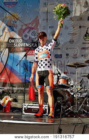 BANSKA BYSTRICA, SLOVAKIA - JUNE 08, 2017: Jan Tratnik from Slovenia celebrate leadership in points classification after second stage of road cycling championship - Tour of Slovakia