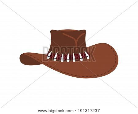 Australian Crocodile Hunter Cap. Cowboy Brown Hat Isolated