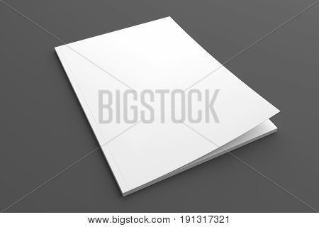 Blank brochure or magazine isolated on grey to place your design. 3D illustration mock up.