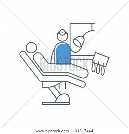 Dental office with dental chair, patient and dentist