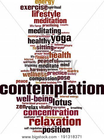 Contemplation word cloud concept. Vector illustration on white