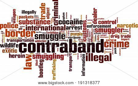 Contraband word cloud concept. Vector illustration on white