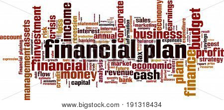 Financial plan word cloud concept. Vector illustration