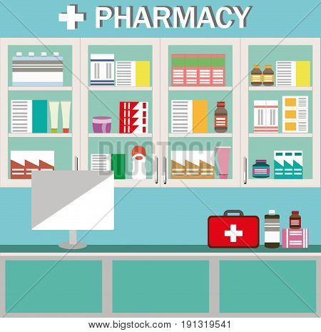 Modern interior design pharmacy or drugstore. Showcase and shelves with medicines, pills and capsules. Flat style vector illustration.