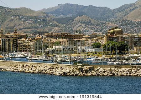 Palermo.Italy.27 may 2017.A view of the port and city of Palermo from the sea. Sicily