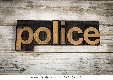 Police Letterpress Word On Wooden Background