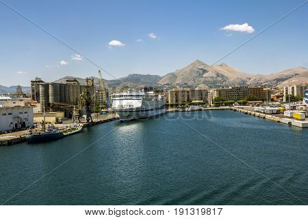 Palermo.Italy.27 may 2017.Views of ferry port and city of Palermo from the sea. Sicily