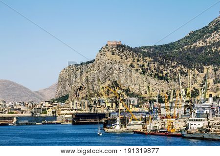 Palermo.Italy.May 27 2017.A view of the port and Castello utveggio on mount Pellegrino in Palermo. Sicily