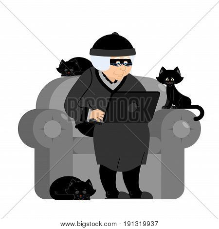 Grandmother Hacker Sits On An Armchair With Laptop And Cat. Grandma Is Thief Programmer. Internet Co