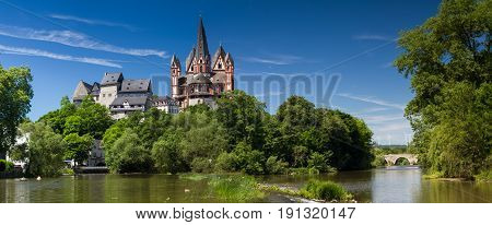 Panorama of the cathedral and castle of Limburg above the river Lahn Hesse Germany