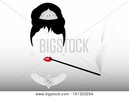 portrait retrò woman, diva with cigarette holder and Pearl jewelry , minimal Audrey , vector illustration