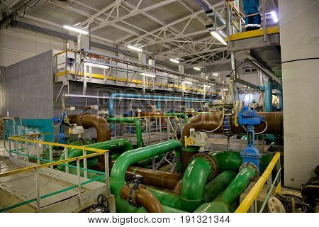Inside modern wastewater treatment plant. The post-treatment is carried out on fast, non-pressure sand filters
