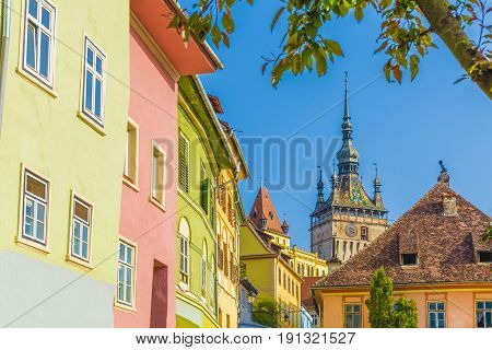 The Clock Tower in the medieval city of Sighisoara Transylvania landmark Romania