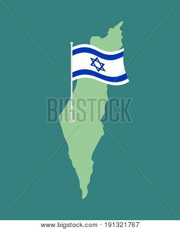 Israel Flag And Map. Israeli Banner Ribbon. Jewish Symbol Of State