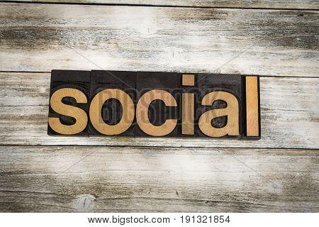 Social Letterpress Word On Wooden Background