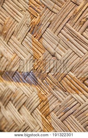 A Wall Build On Wicker Bamboo