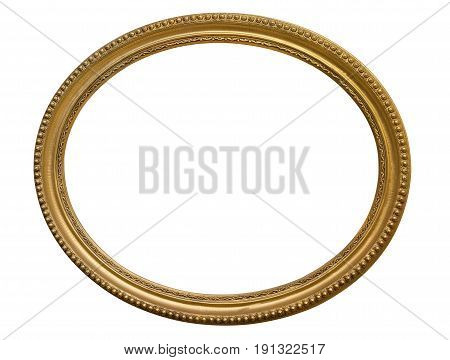 Gold oval picture frame. Isolated over white background