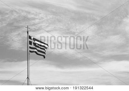 White   Waving Greece Flag In The Blue Sky And Flagpole