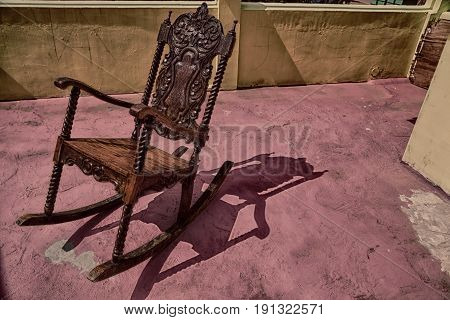Old Dirty Terrace Whith Rocking Chair Empty
