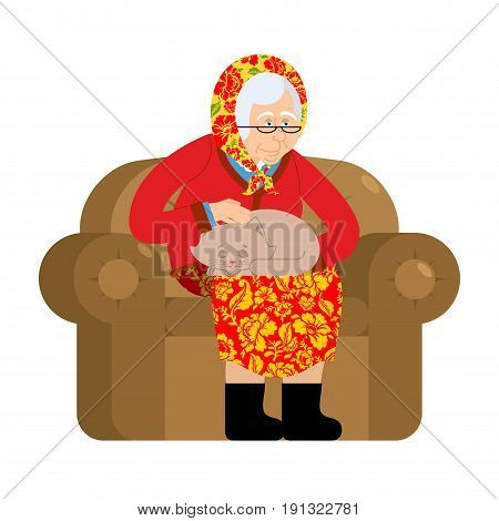 Russian Grandmother And Cat. Old Woman In An Armchair With Pet. Grandma From Russia In Felt Boots. T