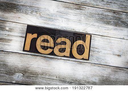 Read Letterpress Word On Wooden Background