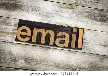 Email Letterpress Word On Wooden Background