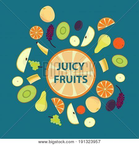 Colorful organic fresh fruits set with orange banana grapes peach kiwi plum tangerine slices isolated vector illustration