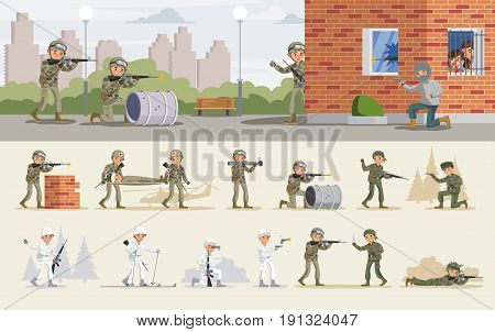 Release of hostages operation concept with military assault and soldiers in different situations vector illustration