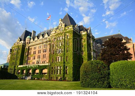 Victoria BC,Canada,May 15th 2014.The iconic Empress hotel in Victoria is a true landmark.It is right across from the busy inner harbor close to downtown and other interesting attractions for all to enjoy when in Victoria.Come to our city and explore