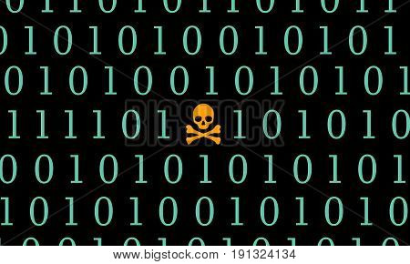 Global attack ransomware Skull with Binary Code Screen Background. WannaCry, Virus attack, Computer Security illustration.