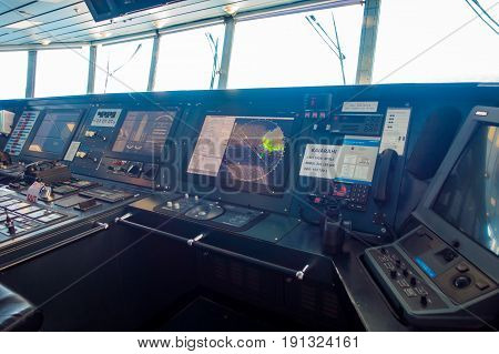 SOUTH ISLAND, NEW ZEALAND- MAY 25, 2017: Interesting Ferry boat pilot command cabin, in new zealand.