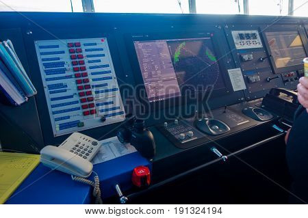 SOUTH ISLAND, NEW ZEALAND- MAY 25, 2017: Complete Ferry boat pilot command cabin with a radar in the screen, in new zealand.