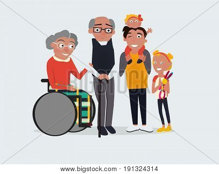 Vector Grandparents and grandchildren flat design illustration. Happy grandparents with their grandchildren. Grandparents' Day illustration. -stock vectorGrandmother. Cartoon cute people characters. -stock vector