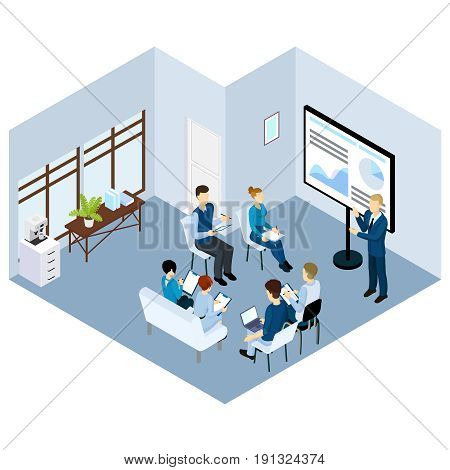 Isometric coaching characters concept with people training on business conference or seminar in office vector illustration