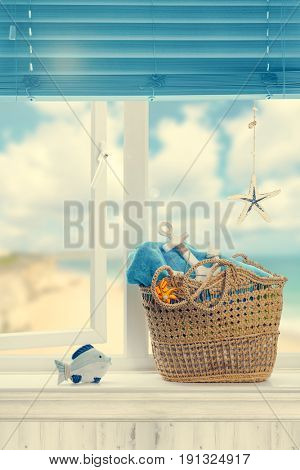 Beach basket packed ready for a day out