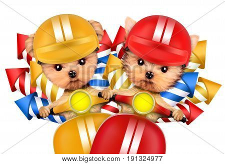 Couple of dogs carry firework rockets isolated on white background. Birthday and party concept. Realistic 3D illustration.