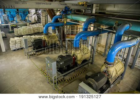 Voronezh, RUSSIA - December 30, 2015: Inside modern wastewater treatment plant. Air pumping station