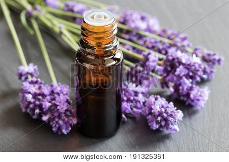 A Bottle Of Lavender Essential Oil On A Dark Background