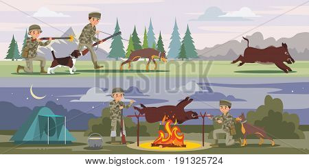 Hunting horizontal banners with hunters running for wild boar and cooking prey on split at night vector illustration