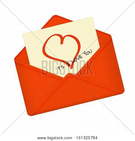 Letter in open red envelope. Postcard with heart and message: P.S. I love you. Valentine letter flat icon. Declaration of love. Vector illustration. Isolated on white background. Square location.