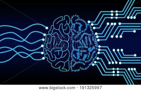Artificial Intelligence Human Brain Processor Circuit. Cybernetic Brain. Machine Learning Technology Concept Illustration.