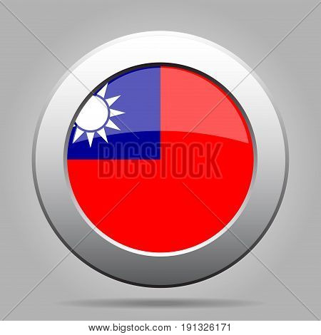 National flag of Taiwan. Shiny metal gray round button with shadow.