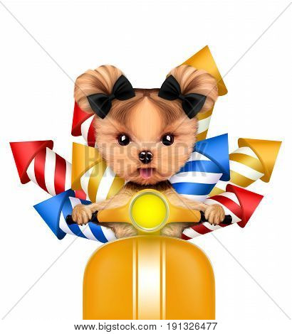 Funny dog carry firework rockets isolated on white background. Birthday and party concept. Realistic 3D illustration.