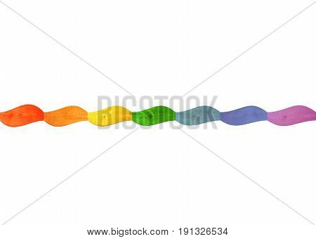 wavy wooden isolated multicolored ribbon in colors of rainbow on the background