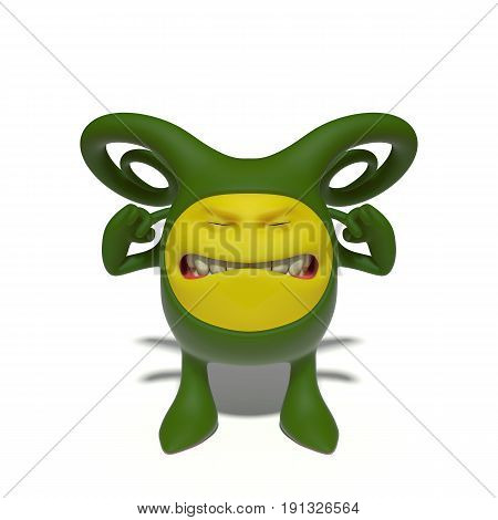 3d image. The funniest character on an isolated white background.