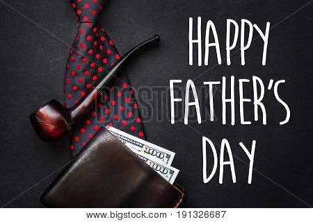 Happy Father's Day Text Sign. Fathers Day Greeting Card.  Flat Lay. Bow Tie Leather Wallet With Mone