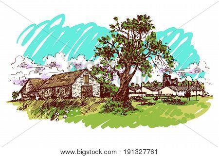 Hand drawn vector illustration village house. Sketch style. Eco farm.